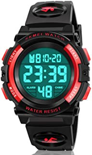 Dodosky Boy Toys Age 5-12, LED 50M Waterproof Digital Sport Watches for Kids Birthday Presents Gifts for 5-12 Year Old Boys - Red