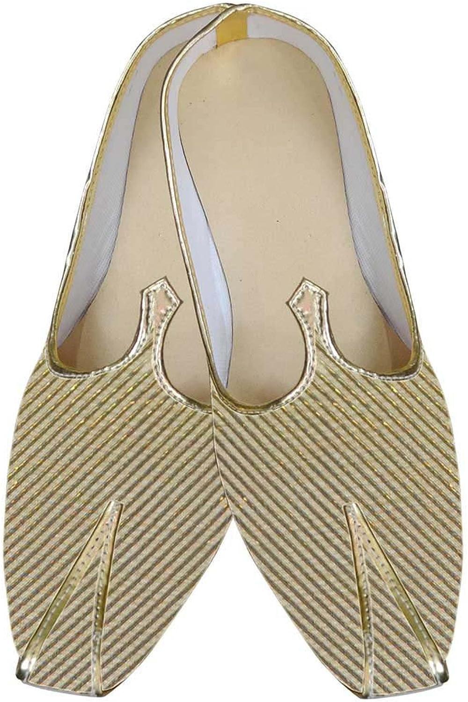 INMONARCH Mens golden Brocade shoes Wales Pattern MJ0023