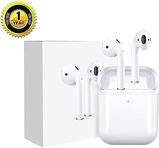 【令和2019最新版 Bluetooth 5.0 タッチ式】ワイヤレスイヤホン ブルートゥース高音質 自動で接続両耳通話 左右分離型 両耳 技適認証済み 6時間連続音楽再生可能ヘッドセットタッチコントロール 対応Siriへアクセス iOS/Android/MAC対応 (ホ ワイト) + 4個ヘッドフォン保護キャップ