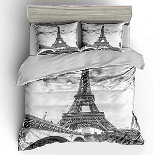 SHOMPE Full Size Bedding Sets Paris Memory Eiffel Tower,3 Piece Duvet Cover Sets with Pillow Shams for Teens Boys Girls,NO Comforter