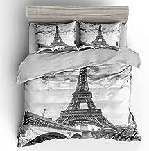 SHOMPE Queen Size Bedding Sets Paris Memory Eiffel Tower,3 Piece Duvet Cover Sets with Pillow Shams for Teens Boys Girls,NO Comforter