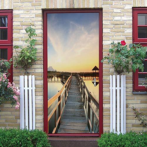 UFHFPF 3D Door Art Sunset Wooden Bridge Gazebo Scenery 77X200Cm Removable Door Decals, PVC Self-Adhesive Waterproof Door Murals, Door Stickers for Interior, Bedroom Living Room Bathroom Kitchen House