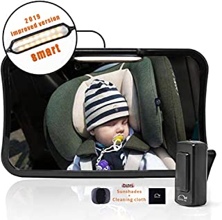 Moyu Home Infant Rear Facing Car Seat Mirror | Adjustable Smart Dual Mode LED Light with Remote | Crystal Clear View with 360 Degree Pivot | Full Assembled with Shatterproof Glass Black