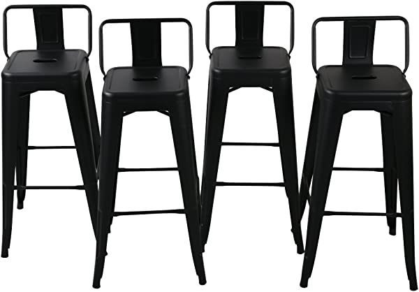 Belleze 24 Inch Low Back Indoor And Outdoor Chair Counter Height Stools Black Set Of 4