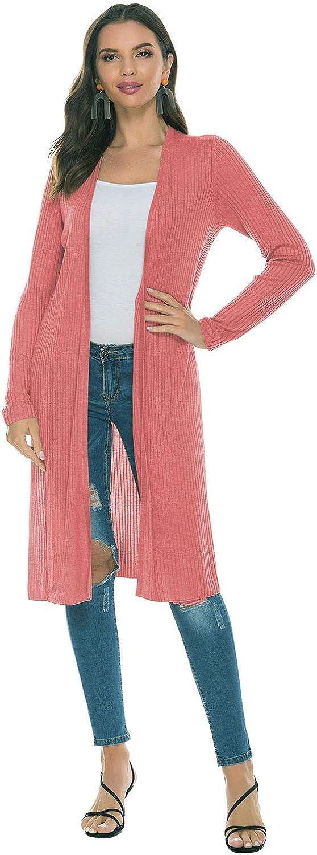 SUNJIN ACRO Women's V-Neck Long Sleeve Wool Sweater Irregular Hem Casual Open Front Cardigan Knit Tops
