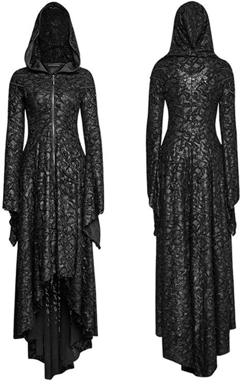 PUNK Gothic Hooded Long Dress Women Steampunk Dark Witch Dresses Black Lace Coats