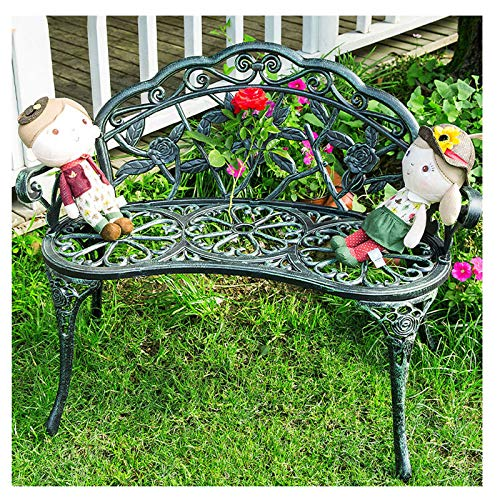 HZW Patio Park Garden Bench with Backrest and Armrests, European Antique Outdoor Bench for Front Porch Path Yard Lawn Decor Deck Furniture, Rose Carving and Weather Resistant,B