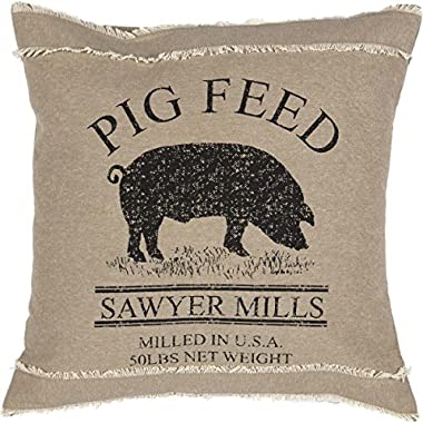 VHC Brands Farmhouse Throws - Sawyer Mill Tan Pig 18  x 18  Pillow, One Size