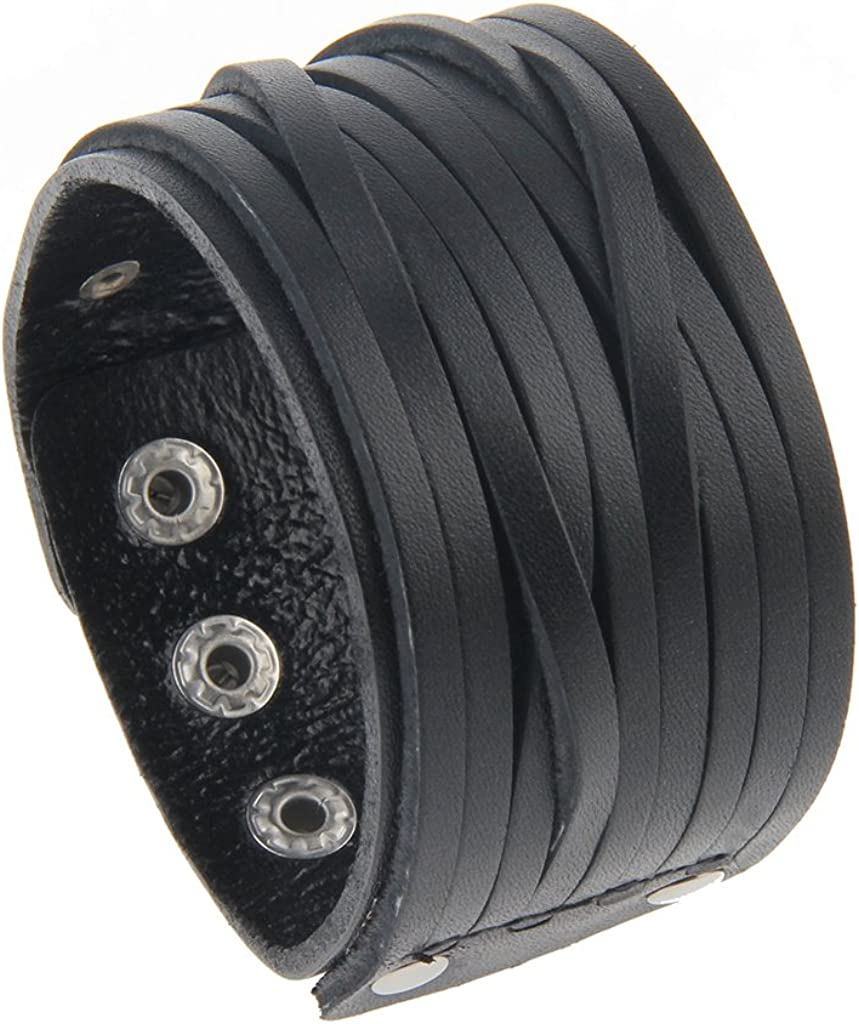 GelConnie Leather Cuff Bracelet Punk Braided Bracelets Rock Leather Wristbands Gothic Adjustable Wrap Bracelet for Men, Women