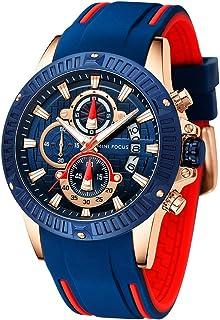 Men Watch, MINIFOCUS Chronograph Waterproof Sport Analog Quartz Watches Blue Silicon Strap Fashion Wristwatch for Men