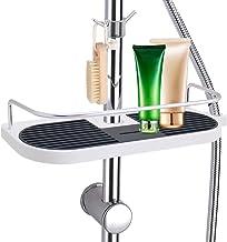 LEEFE Estante para Ducha de Espacio Aluminio, Estanterías Desmontable de baño sin Perforar con Dos Ganchos, Organizador del cubículo de ducha – Adecuado para 19mm - 25mm Carril Redondo