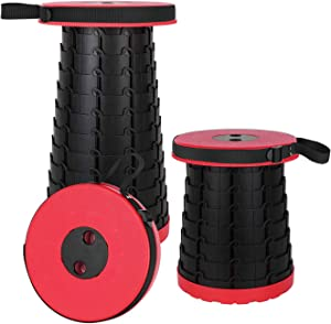 BEEYEO Portable Telescoping Stool, Lightweight Simple Stool Collapsible/Retractable Load 400 lb, Camping Folding Seat for Outdoor, Indoors, Travel, BBQ, Fishing, Garden, Party,Kitchen, Hiking-(RED)