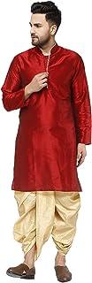 SKAVIJ الرجال الفن الحرير Dhoti كورتا مجموعة حزب اللباس العرقية
