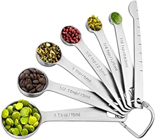 Molecee Measuring Spoons Set Stainless Steel - 7 Pieces Kitchen Aid Metal Spoons includes Teaspoon and Tablespoon Engraved with Leveler and Ring Holder, Measuring Tiny Dry and Liquid Ingredients
