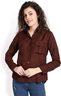 C.Cozami Casual Long Sleeves Double Pocket Rayon Shirts for Women