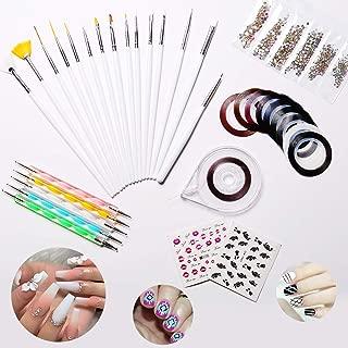 Modelones Nail Art Decoration Kit, 10 Striping tape & 15 Pcs Nail Brush Painting Pen & 5 Pcs Dotting Pen & 1 Pc Striping Roller Box & 1368 Pcs Rhinestones & 2 Pcs Water-based Sticker