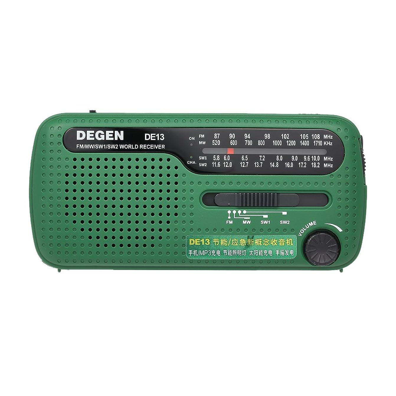 受益者ソーシャル優先KKmoon DEGEN DE13 FMラジオ FM MW SW世界銀行レシーバ懐中電灯クランクダイナミックソーラー電源屋外活動 ため 携帯電話MP3 MP4充電器とソーラー緊急ラジオ