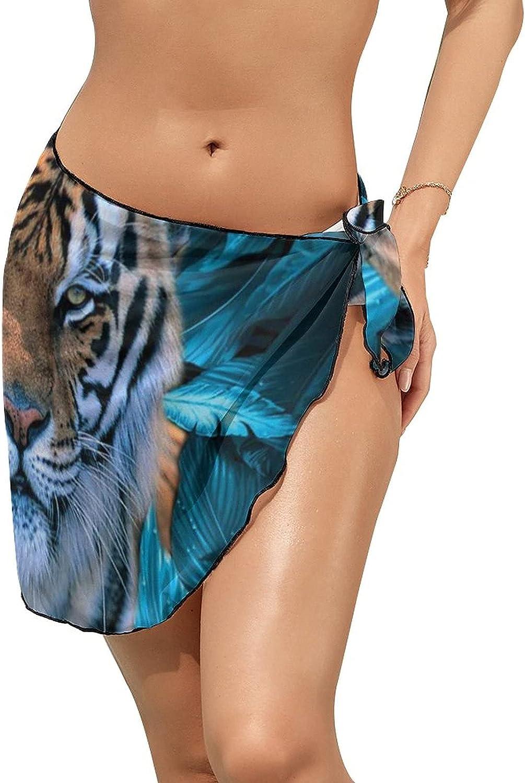 Women's Bikini Swimsuit Cover Up Tiger Leaves Blue Summer Beach Wrap Skirt Pareo Sarong