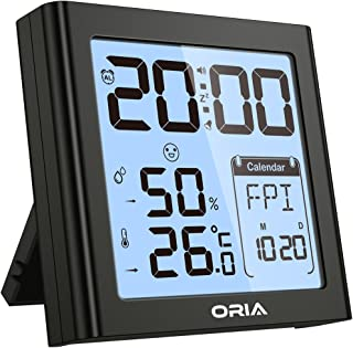 ORIA Digital Hygrometer Thermometer, Indoor Humidity Monitor, Alarm Clock with Temperature, Large LCD Screen Gauge Indicator, ℃ and ℉ Switch, for Home, Office, Bedroom, Kitchen