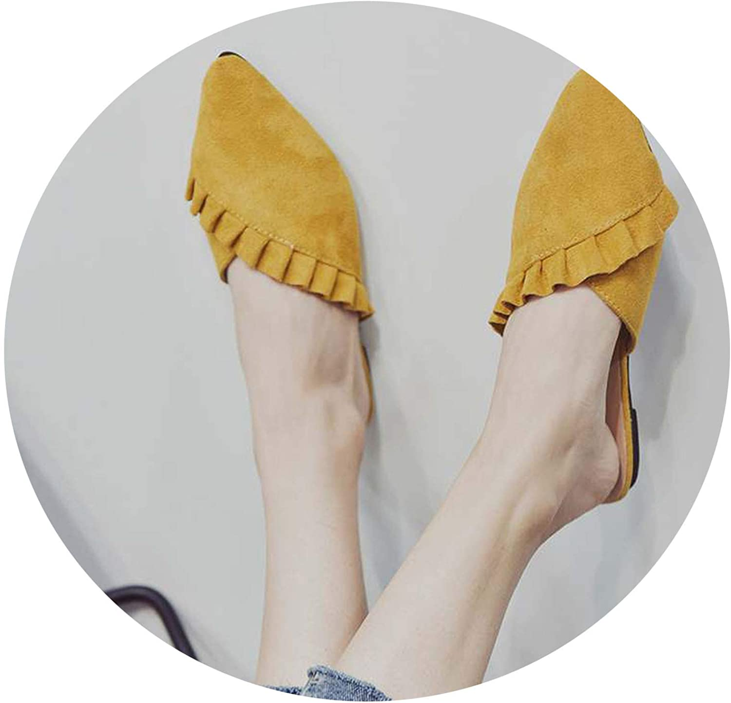 Monicas-house Women Slippers Flat Women shoes Slip On Flat Mules Fashion Ruffles Ladies shoes Fabric Platform Loafer Flip Flop