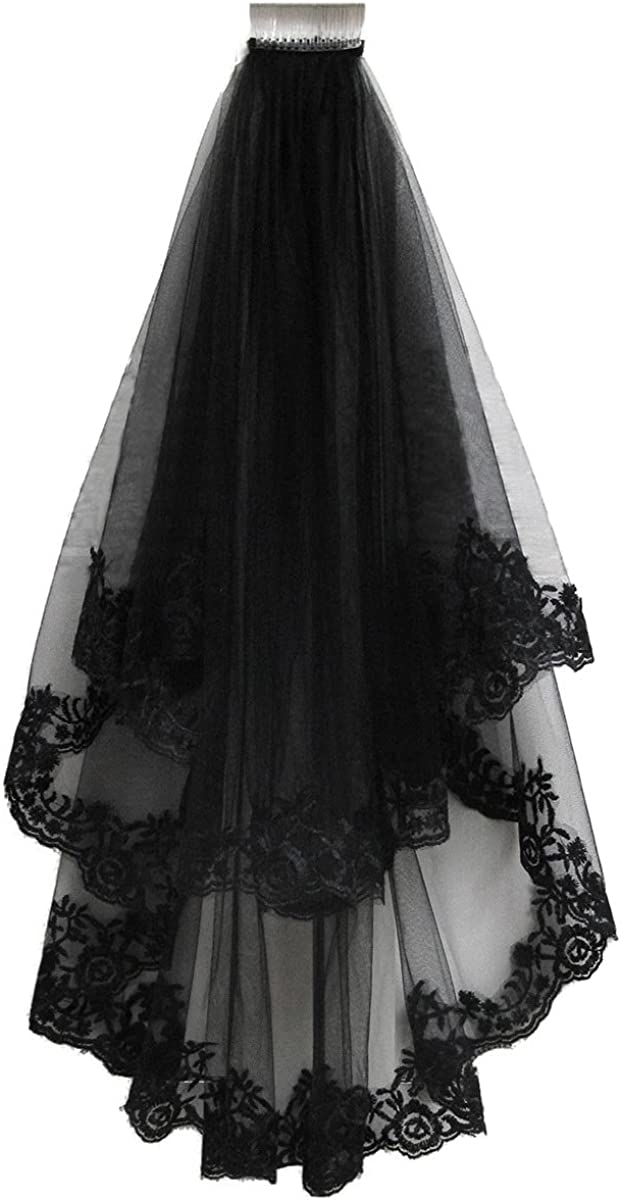 Patty Both Black Ribbon Edge Bridal Wedding Veils with Comb (black lace)