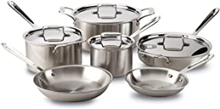 All-Clad BD005705 D5 Stainless Steel 5-Ply Bonded Dishwasher Safe Cookware Set, 5-Piece, Silver 10-Piece Metallic 8400000692