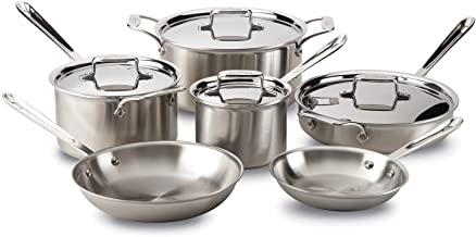 All-Clad BD005710-R D5 Brushed 18/10 Stainless Steel 5-Ply Bonded Dishwasher Safe Cookware Set, 10-Piece
