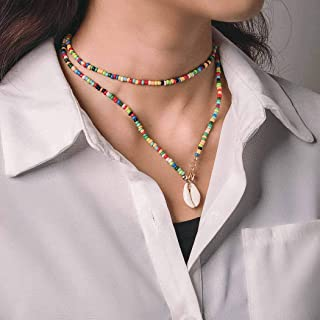 Aetorgc Boho Layered Choker Necklace Chain Shell Pandant Necklaces Multi Color Beaded Necklace Jewelry for Women and Girls