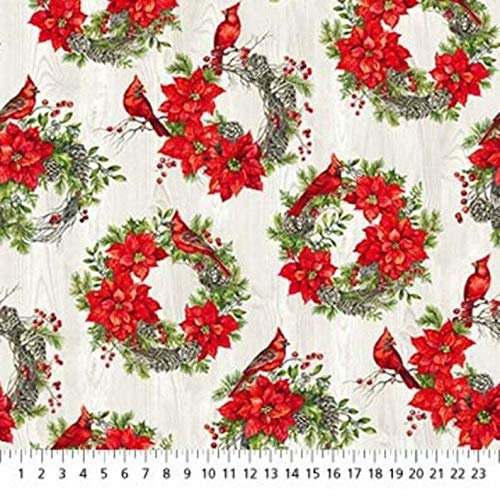 The Scarlet Feather Poinsettia Wreath Circles Christmas Cotton by Northcott