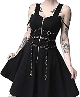 NANTE Top Cosplay Dress Gothic Street Punk Wind Dresses Women Black Zipper Pleated Strap Skirts Long Knee Sundress Skirt