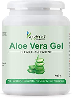 KAZIMA Aloe Vera Gel Raw - 100% Pure Natural Gel - Ideal for Skin, Face, Acne Scars, Hair Treatment, Moisturizer & Dark Ci...