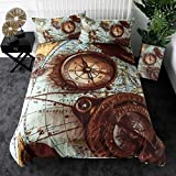 Nautical Decor Bedding Set Full Size Compass Duvet Cover Ocean Theme Bedding Duvet Cover Retro Exotic Style Soft Comforter Cover Compass Decor Microfiber Bedspread Cover for Adult Teens Kids