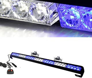 "Oglight 31.5"" 28 LED Emergency Strobe Deck Grille Police Strobe Warning Light for Ambulance/Traffic/Police/Fire Fighter/Car/Truck(White/Blue)"