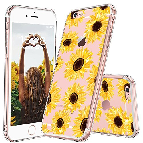 MOSNOVO iPhone 6s Case/iPhone 6 Case for Women, Floral Flower Sunflower Pattern Clear Design Transparent Plastic Hard Back Case with TPU Bumper Protective Case Cover for iPhone 6/iPhone 6S