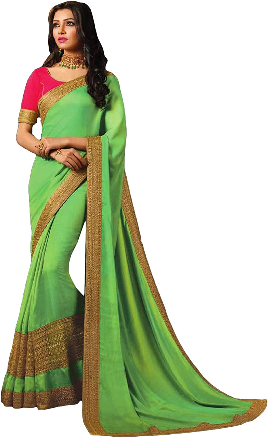 DesiButik's Party Wear Magnificent Green Satin Silk Saree