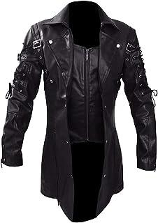 Honey Leather Mens Goth Matrix Steampunk Gothic Black Trench Coat