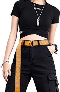 Canvas Web Belt for Women Men, Double D-Ring Buckle Casual Belts Letter Printed Extra Long Fashion Waistband WHIPPY