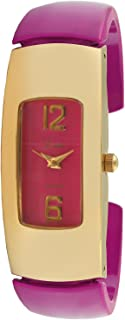Viva 14k Gold Plated Pink Acrylic Bangle Fashion Watch #V1144PK