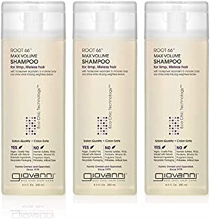 GIOVANNI Root 66 Max Volume Shampoo, 8.5 oz. for Fine Lifeless Hair, Rich in Nutrients, Pro-Vitamin B5, Horsetail Extract,...