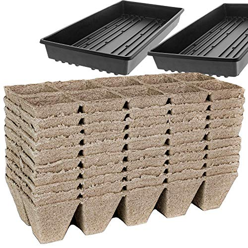 Peat Pots for Seedlings - 10 Seedling Trays with 2 Seed Starter Tray | 100 Biodegradable Seed Starter Pots for Plants | Peat Pods for Seedlings | Seed Starting kit with Seed Tray - by Mr Sprout
