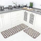 Carvapet 2 Pieces Microfiber Chevron Non-Slip Soft Kitchen Mat Bath Rug Doormat Runner Carpet Set, 17'x48'+17'x24', Coffee