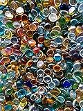 WeJe Glass Gems Standard 17-21mm Round Clear Flat Back Marbles for Home Decor Art Craft Vase Filler Aquarium (5 LB Clear Color Assortment)