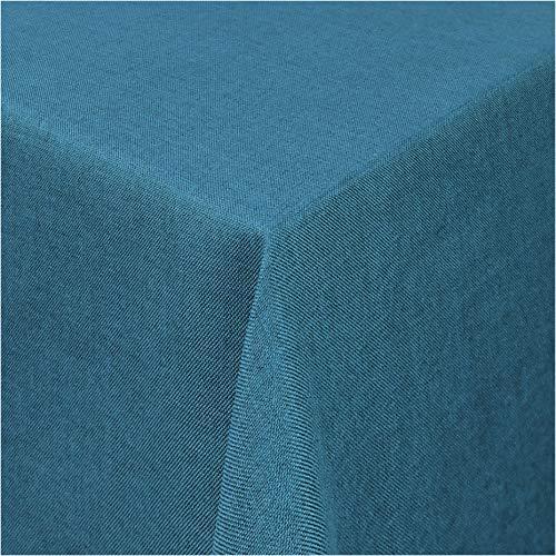 TEXMAXX®Premium Gartentischdecke Tischdecke Garten eckig Maßanfertigung - 140 x 100 cm in Blau - Tischdecken im Leinen Design - Lotuseffekt mit Fleckschutz