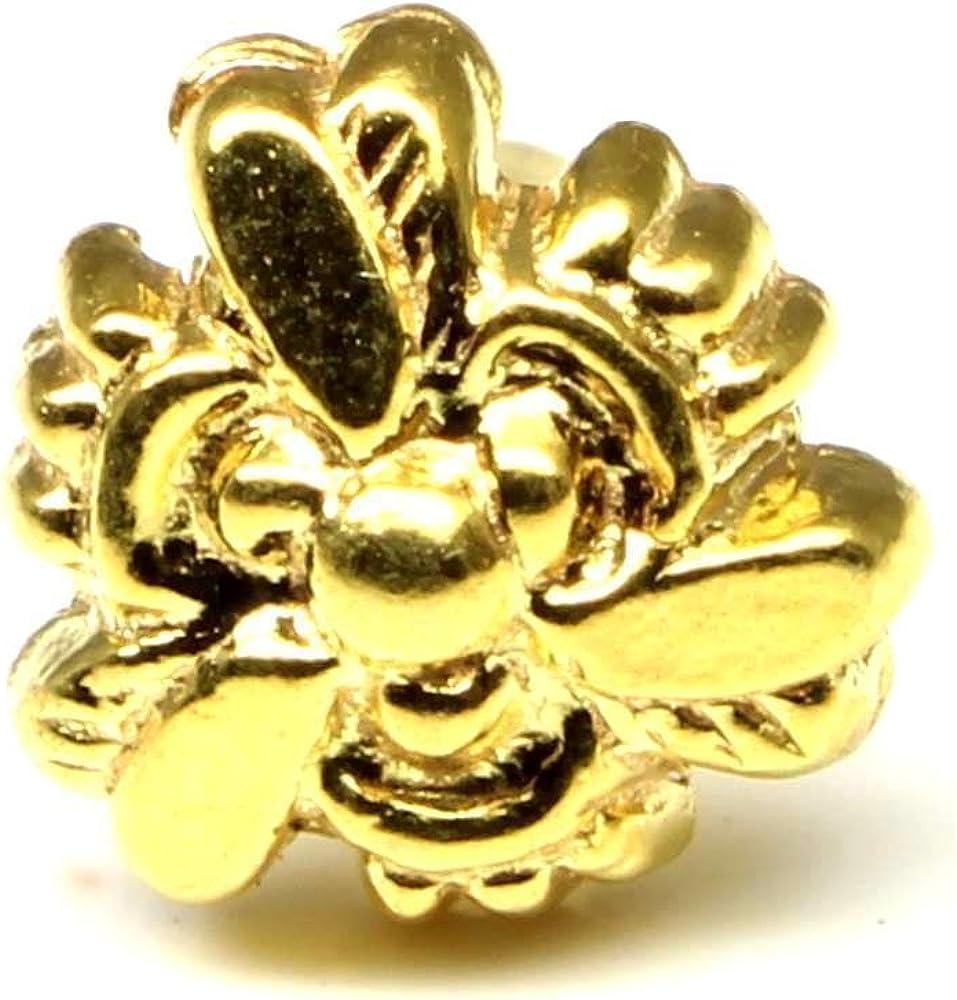 Karizma Jewels Indian Nose Piercing Stud, Gold Plated Nose Ring, Push Pin nase Stud 18g