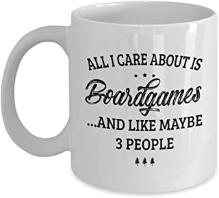 Boardgames Mug - I Care And Like Maybe 3 People - Funny Novelty Ceramic Coffee & Tea Cup Cool Gifts for Men or Women with Gift Box