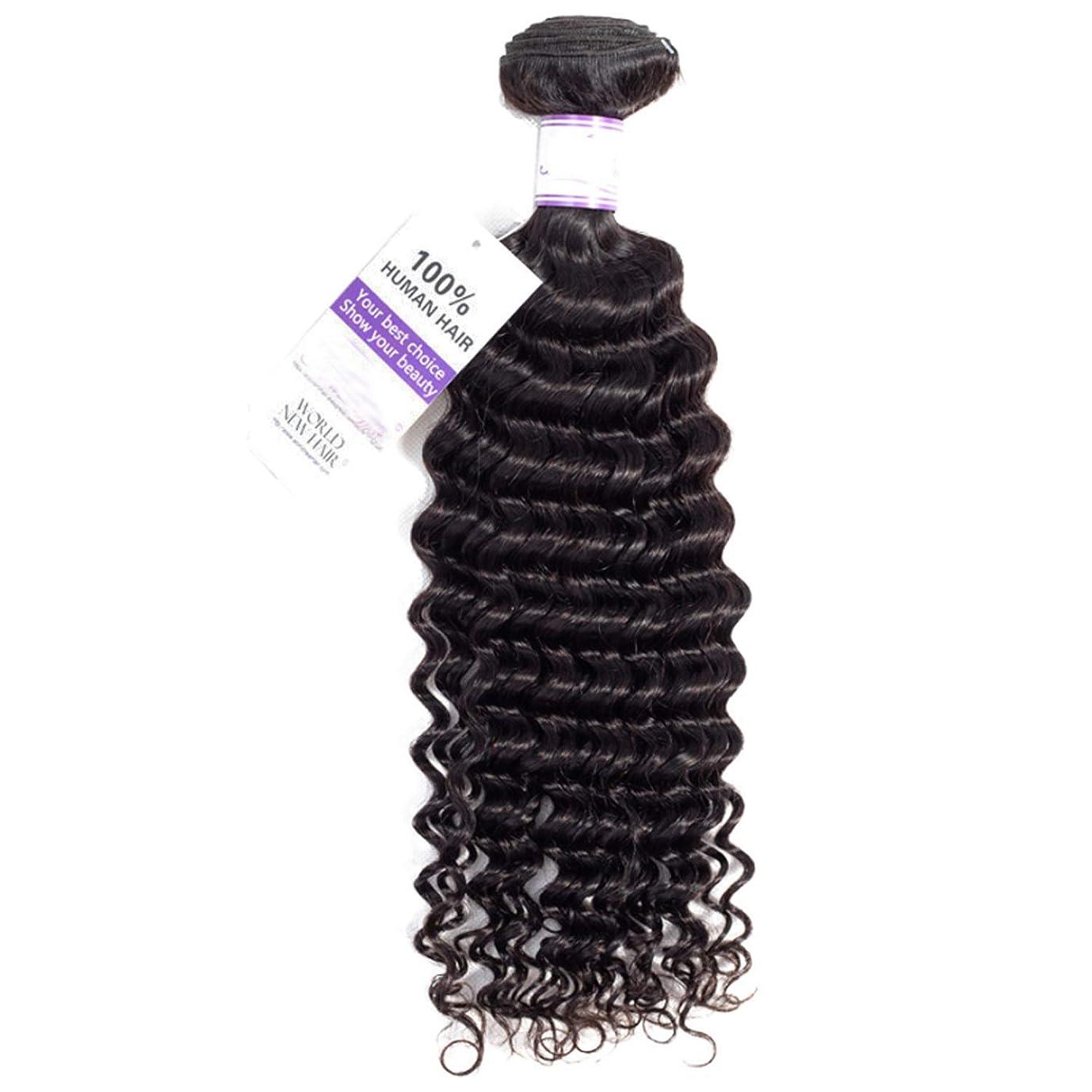ベリ植木道を作るブラジルのディープウェーブヘア織りバンドル100%人毛織りナチュラルカラー非レミー髪1本 かつら (Stretched Length : 12inches)