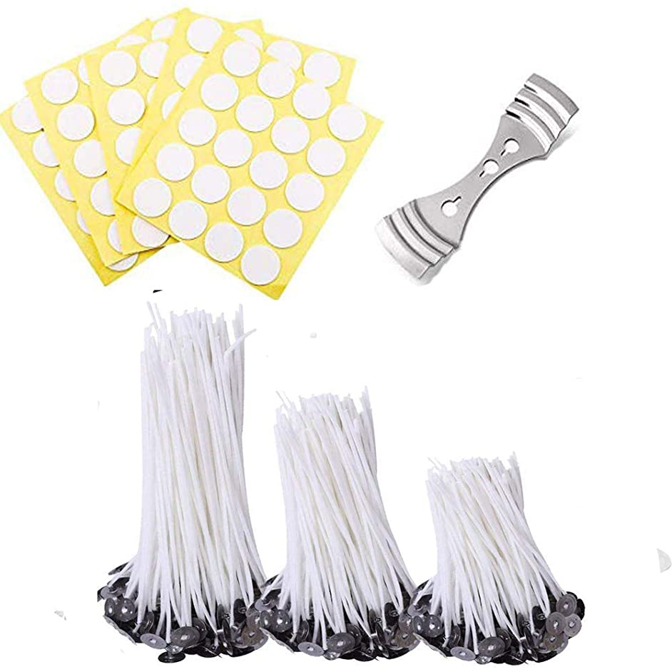 Velidy 301 Pieces Candle Making Kit Including150pcs Natural Candle Wicks&150pcs Candle Wicks Stickers & 1pcs Candle Wick Centering Device for Candle Making, Candle DIY ((3