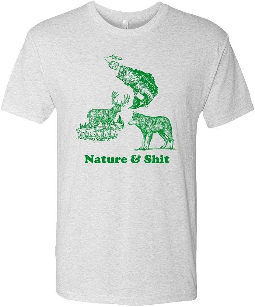 Nature & Shit - Funny Animal Meme Outdoors - Unisex Next Level Tee, S, TRI-Blend White