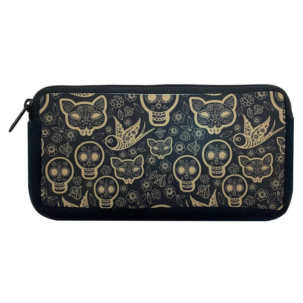 Gold Day of the Dead Popular brand in 55% OFF world Tattoo Makeup Flash Bag Cos Skulls Neoprene