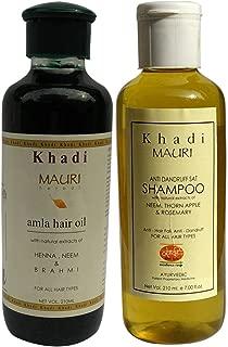 Khadi Mauri Amla Hair Oil & Anti Dandruff Shampoo Combo Pack Of 2 Herbal Ayurvedic Natural 210 Ml Each